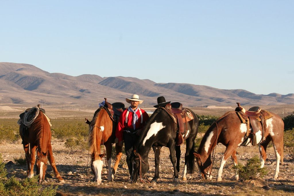 Mark standing in the desert with four horses, mountain background.